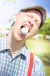 Man Catches Golf Ball In Mouth