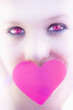 Pink Eyed Woman And Love Heart