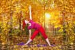 Christmas Yoga trikonasana pose