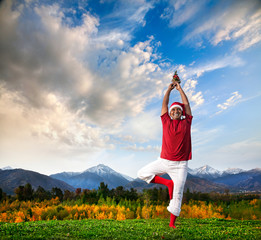Christmas yoga tree pose