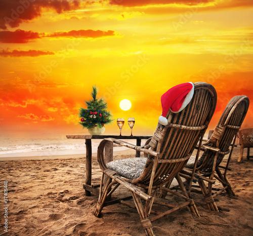 Papiers peints Table preparee Christmas on the beach