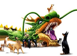 ワンコ大集合 龍とたわむれる犬たち