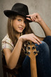 Teenager girl with electric guitar