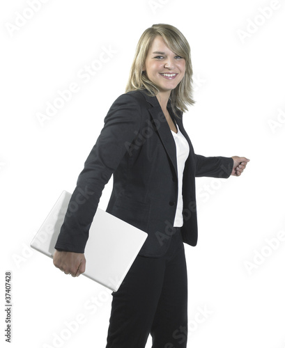 young business woman holding a laptop