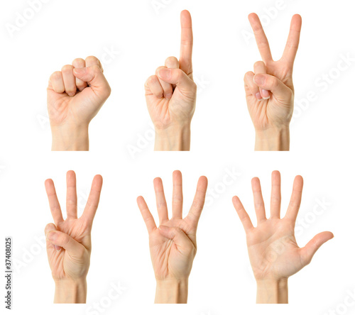 Counting woman hands (0 to 5)