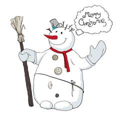 Cute snowman llustration. Vector, EPS8