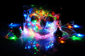 Abstract christmas toys and led color garland