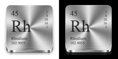 Rhodium, two metal web buttons