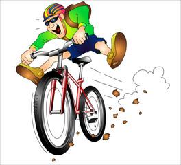 """Mountainbiker"", Bergfahrradfahrer rast den Hang hinab"