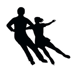 Silhouette Ice Skater Couple Side by Side Turn