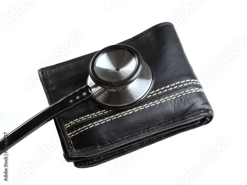 Stethoscope on a wallet