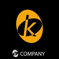 Black Oval Logo initial letter K # Vector