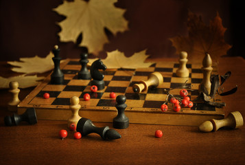 Chess and dry yellow maple leaves