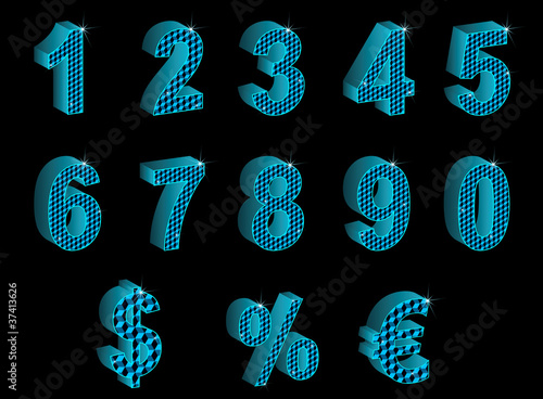Set of blue vector 3D numbers, percent, euro and dollar