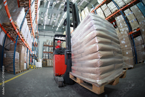 Forklift with pallet of sacks
