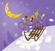 Rat and sled. Cartoon