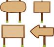 wooden signboard set - vector