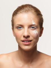 beauty portrait woman white powder on face
