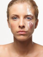 beauty portrait woman colored powders on face