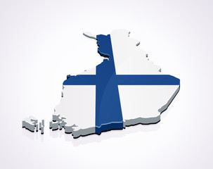 Map of Finland 3D (white background)