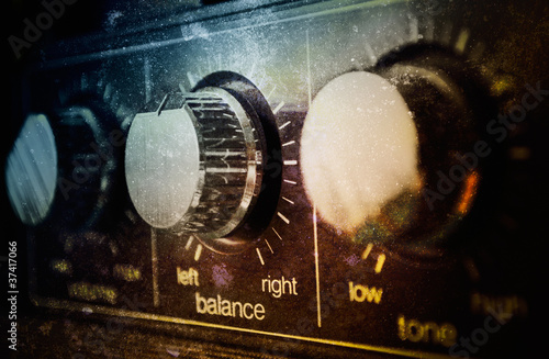 Old grunge amplifier close up