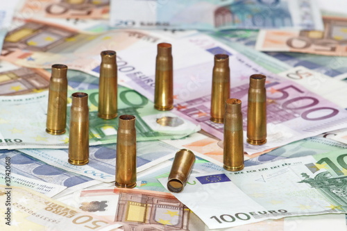 Eoro money with bullet euro sign