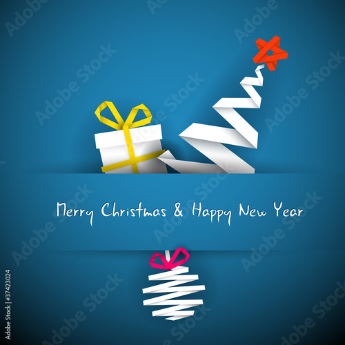 Simple vector blue christmas card with gift, tree and bauble