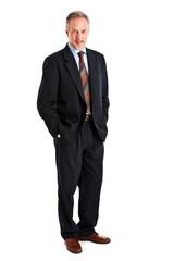 Confident full length businessman isolated