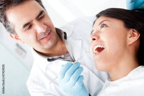 Dentist with a patient