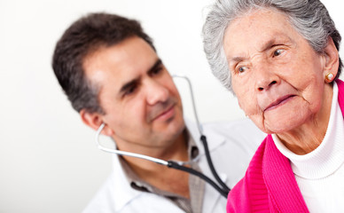 Old woman at the doctor