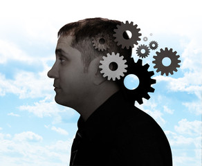 Idea Man  with Gears Thinking
