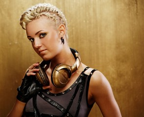 Attractive steam punk girl with headphones