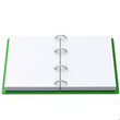 Blank open book with green cover 3d