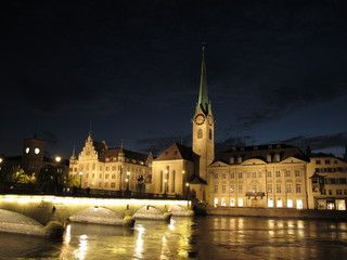 Zürich by Night, Stadthaus, Fraumünster