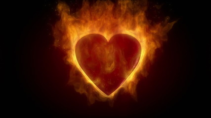 Burning red heart in flames