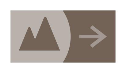 signe, symbole, picto, logo, flèche, montagne, montagneux