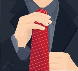 Businessman in a suit straightens his tie. Vector illustration.