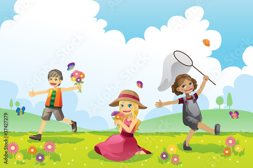 Happy children in Spring season