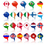 set of  languige bubble with flags, vector
