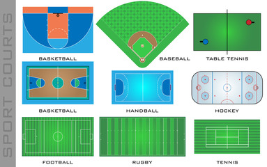 Sport courts, vector