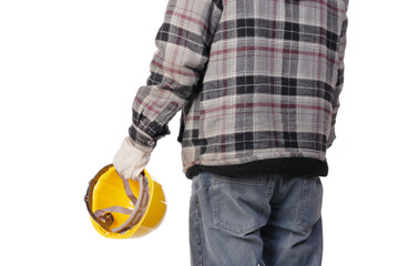 worker with yellow hemet isolated on white