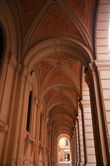 Colonnaded Building in the beautiful city of Bologna in Italy