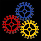 peoples gears turn in unison, symbolizing teamwork and synergy poster