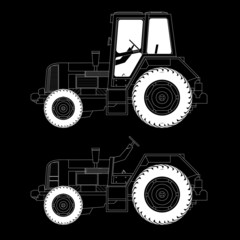 agricultural machinery, tractor, vector