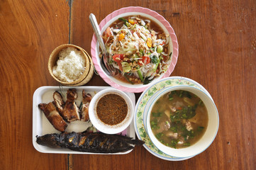 Papaya Salad Food Set Thailand Catfish