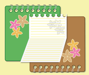 Artwork notebook and paper sheet floral concept.