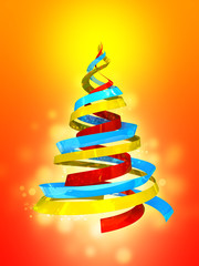 Holiday tree on red background