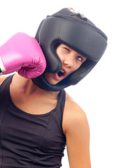 Kick boxer girl punched in the face with pink glove