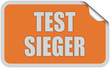 Sticker orange eckig curl oben TESTSIEGER