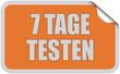 Sticker orange eckig curl oben 7 TAGE TESTEN